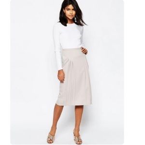 ASOS Pencil Light Gray Skirt with Pleat Detail
